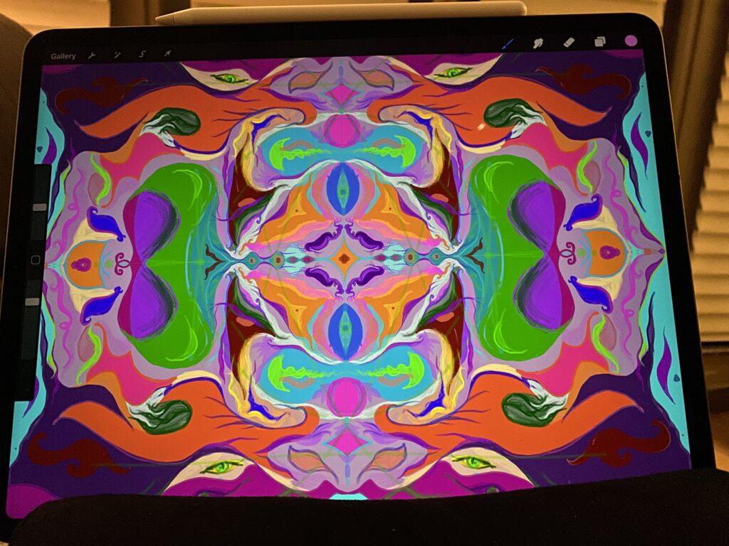 Stephanie using an iPad to create digital art